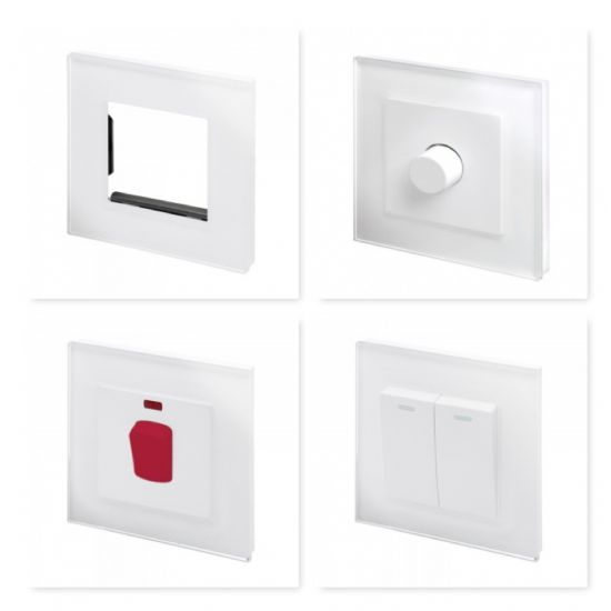 Crystal White Plain Glass Switches & Sockets